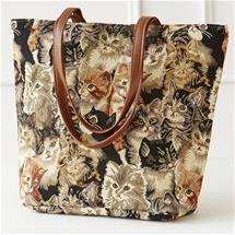 Cats Tapestry Knitting Tote