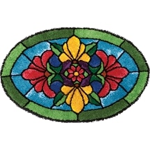 Stained Glass Blossoms Latch Hook Rug