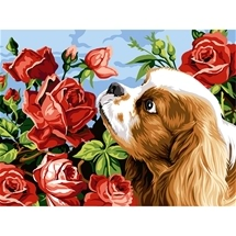 Puppy and Roses