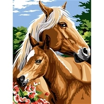 Mother and Foal Tapestry Canvas
