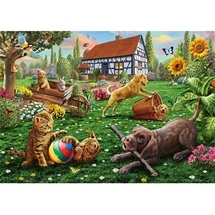 Dog and Cats Play Puzzle