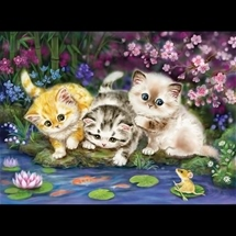 Three Kittens Fishing Tapestry Canvas