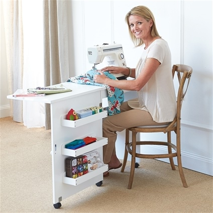 gidget desk folding arrow with wheels d table sewing hsn ii products