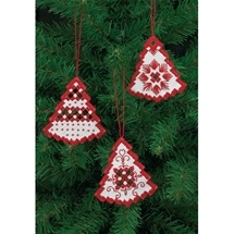 Red Trees Hardanger Ornaments
