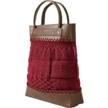 Knitted Bags from France - Red Tote