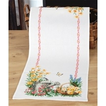 Watering Can and Flowers Runner