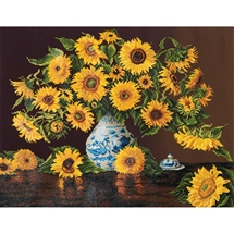 Sunflowers in a China Vase