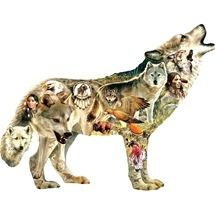 Native American Wolf Shaped Puzzle