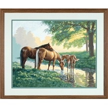Horses By A Stream Paint-By-Numbers