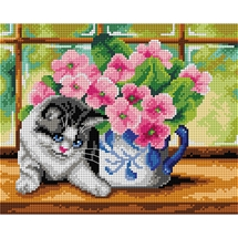 Kitten and Flowers Tapestry Canvas