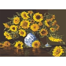 Sunflowers In A Delft Vase