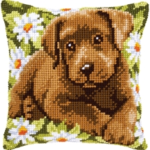 Labrador  & Daisies Cushion