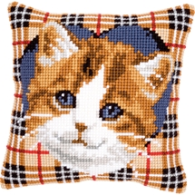 Kitten Tartan Cushion