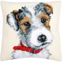Jack Russell With Red Collar Cushion