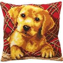 Labrador Puppy Tartan Cushion
