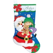 Santa Felt Stocking - Santa with Girl