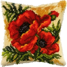 Poppies Latch Hook Cushion