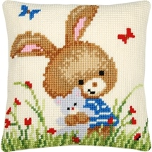 Bunny With Bear Cushion
