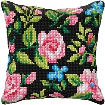 Roses & Blue Flowers on Black Cushion