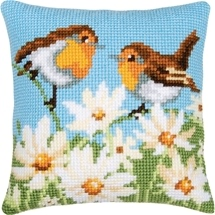 Birds & Flowers Needlepoint Cushion