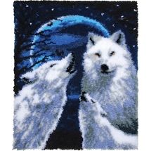 Howling Wolves Latch Hook Rug