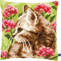 Cat in Flowers Cushion