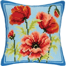 Poppies on Blue Cushion