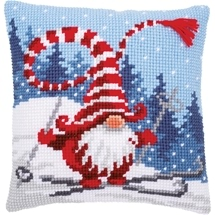 Christmas Gnome Skiing Cushion