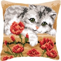 Kitten & Flowers Cushion