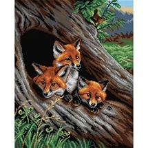 Young Foxes in a Hollow Tree Tapestry Canvas