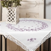 Pastel Flowers Lace-Edged Table Topper
