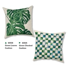 Checks & Leaves Cushions