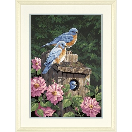 Garden Bluebirds Paint By Numbers