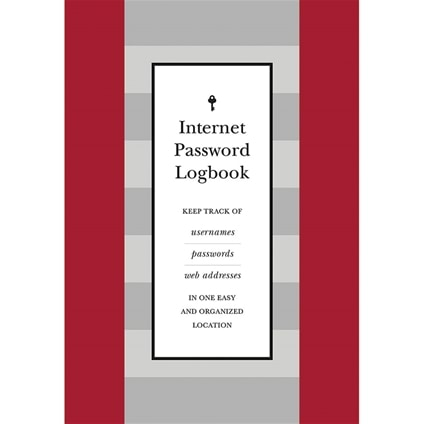 Internet Password Logbook Red